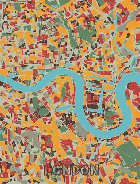Wall Art - Digital Art - London Map Retro by Bekim M