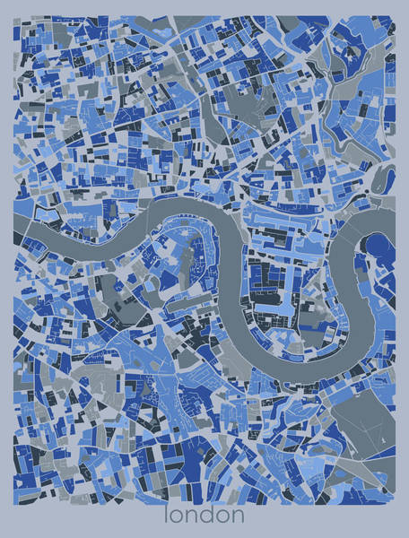Wall Art - Digital Art - London Map Retro Blue 5 by Bekim M