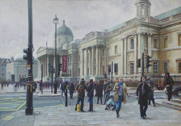 Wall Art - Painting - London National Gallery In The Winter by Martin Davey
