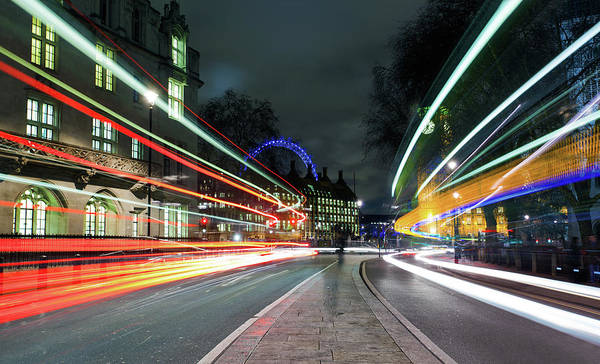 Houses Of Parliament Wall Art - Photograph - London Night-time Rush Hour by Ray Wise