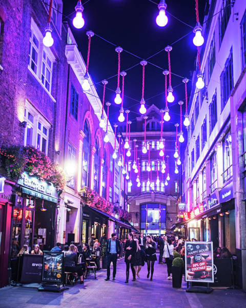 Photograph - London Nightlife Carnaby Street London Uk United Kingdom Purple Lights by Toby McGuire
