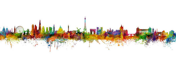 Wall Art - Digital Art - London, Paris And Rome Skylines Mashup by Michael Tompsett