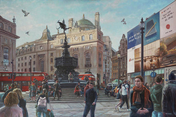 Wall Art - Painting - London Piccadilly Circus With Evening Light by Martin Davey