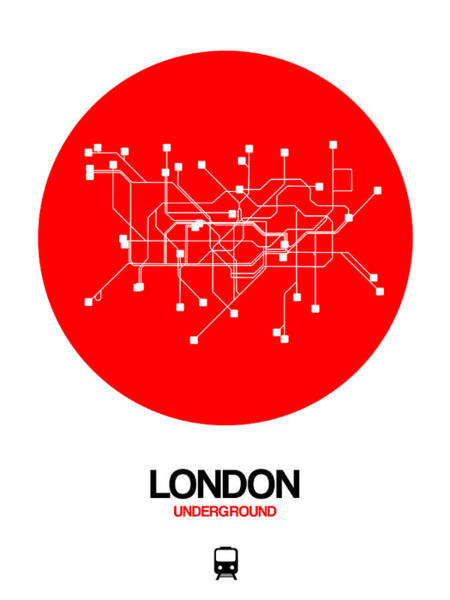 Wall Art - Digital Art - London Red Subway Map by Naxart Studio