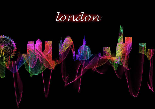 Photograph - London Skyline Art With Script by Debra and Dave Vanderlaan