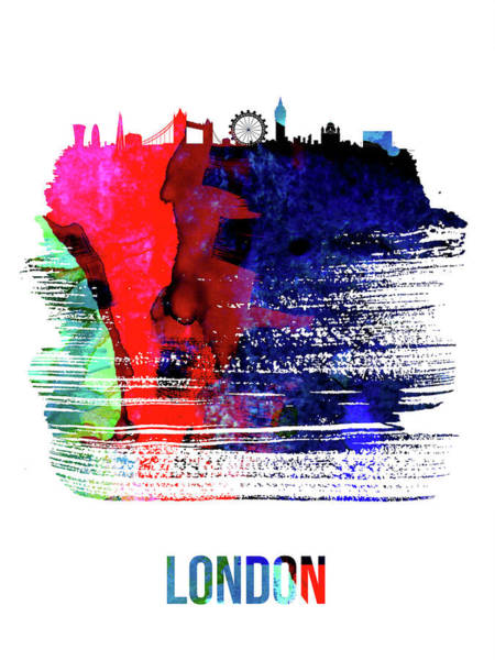 England Mixed Media - London Skyline Brush Stroke Watercolor   by Naxart Studio