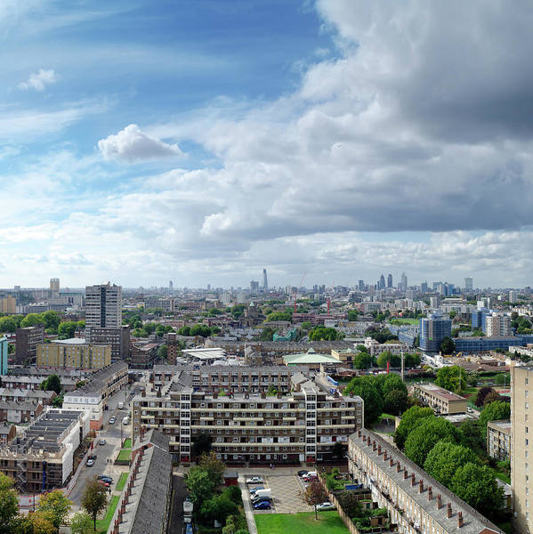 Residential Area Photograph - London Skyline, Looking From Estate by Dynasoar