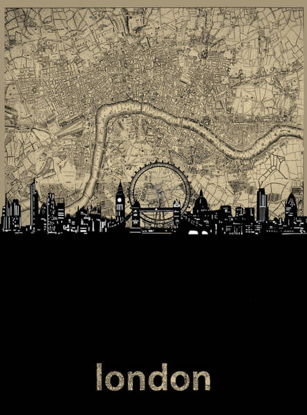 Wall Art - Digital Art - London Skyline Map by Bekim M