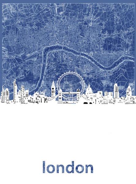 Wall Art - Digital Art - London Skyline Map Blue by Bekim M