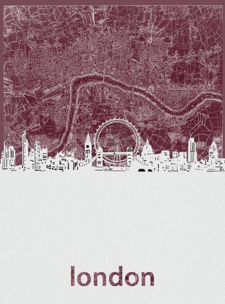 Wall Art - Digital Art - London Skyline Map Red by Bekim M