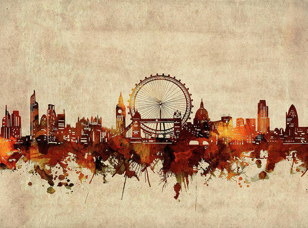 Wall Art - Digital Art - London Skyline Sepia by Bekim M