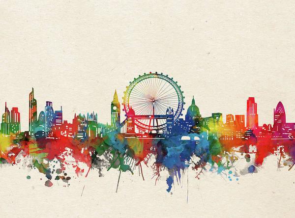 Wall Art - Digital Art - London Skyline Watercolor by Bekim M