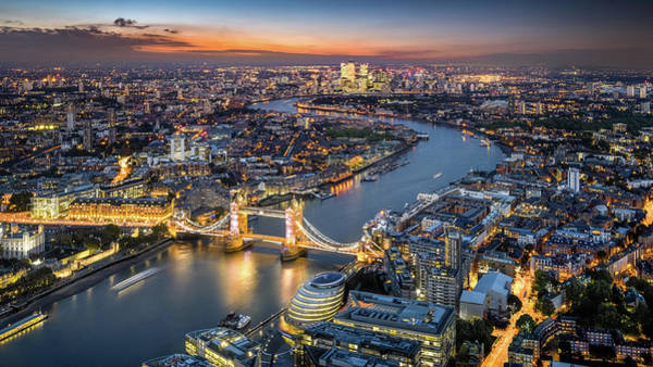 Canary Wharf Photograph - London Skyline With Tower Bridge At by Tangman Photography