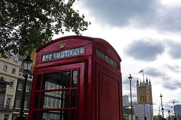 Photograph - London Telephone Booth With Tower London Uk by Toby McGuire