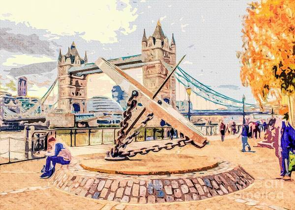 Photograph - London Tower Bridge With The Giant Compass by Nigel Dudson