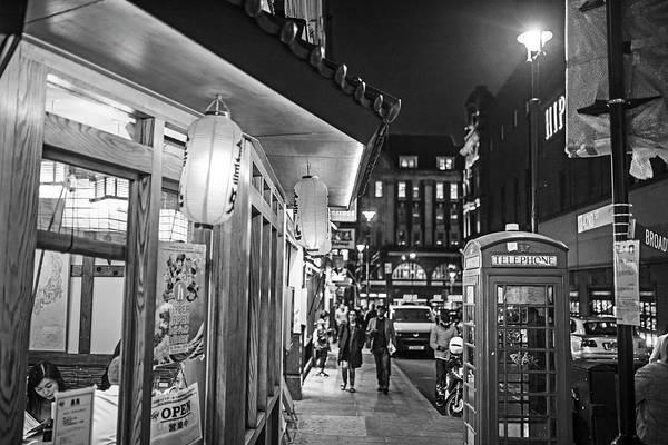 Photograph - London Uk Chinatown Telephone Box Lanterns London Uk United Kingdom Black And White by Toby McGuire