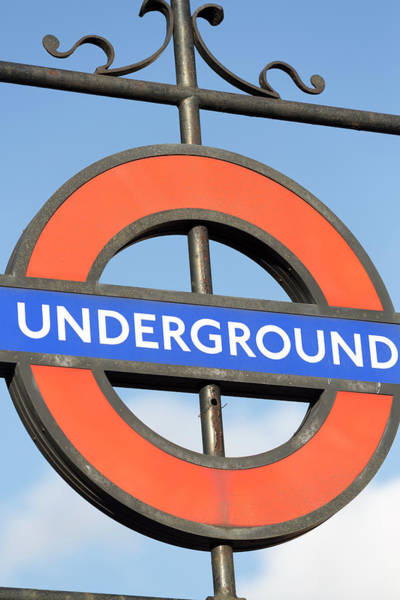 Text Photograph - London Underground Sign by Chris Mellor