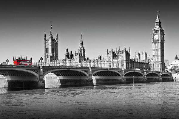 Wall Art - Photograph - London Westminster Bridge And Red Bus by Melanie Viola