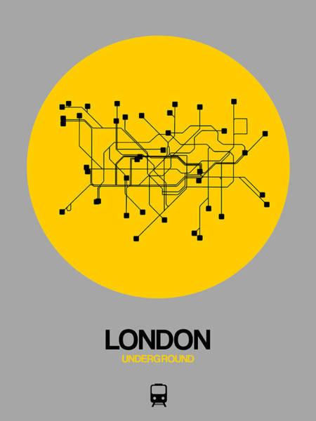 Unique Wall Art - Photograph - London Yellow Subway Map by Naxart Studio