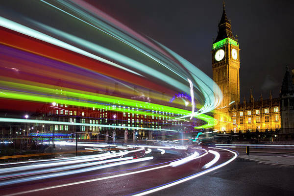 The Clock Tower Photograph - Londons Olympic Colours by Ray Wise