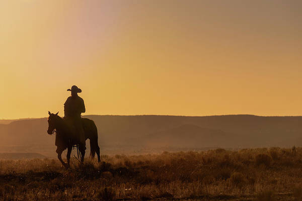 Wall Art - Photograph - Lone Desert Cowboy Riding At Sunrise by Steve Gadomski