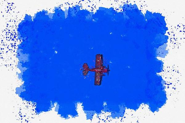 Wall Art - Painting - Lone Pilot -  Watercolor By Adam Asar by Adam Asar