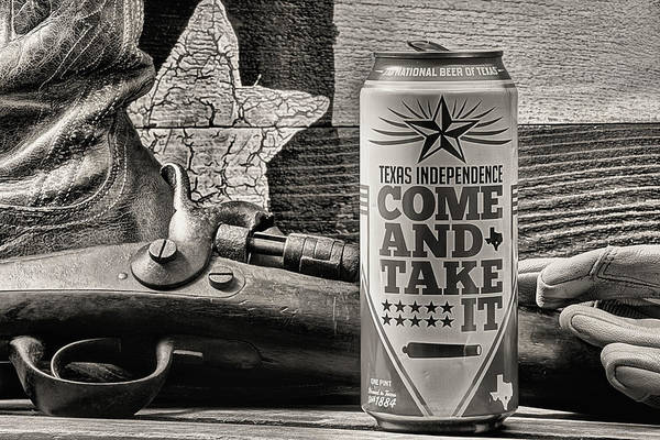 Photograph - Lone Star Beer Come And Take It Black And White by JC Findley