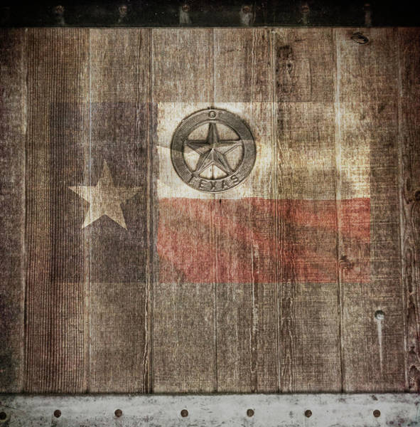 Photograph - Lone Star State #texas #woodbackground by Andrea Anderegg