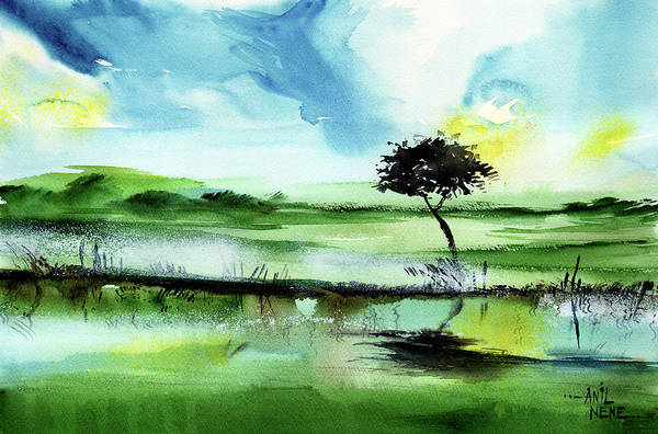 Painting - Lone Tree by Anil Nene