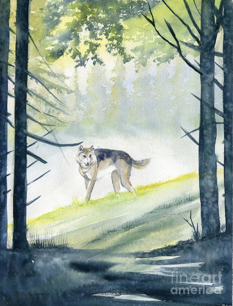 Lone Tree Painting - Lone Wolf by Melly Terpening