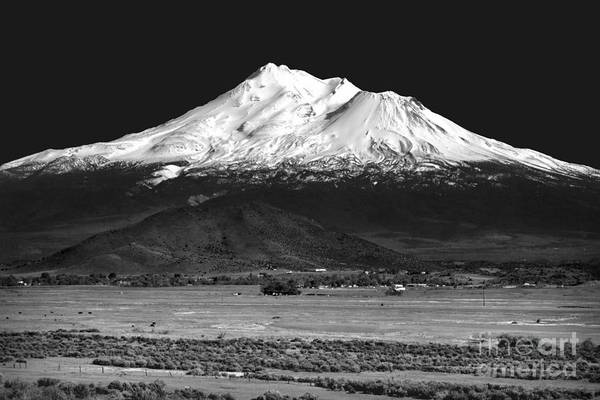 Wall Art - Photograph - Lonely As God, White As The Winter Moon - Mount Shasta In Black And White by Douglas Taylor