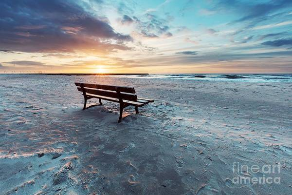 Wall Art - Photograph - Lonely Bench On The Beach At Sunset With View On The Sea by Michal Bednarek