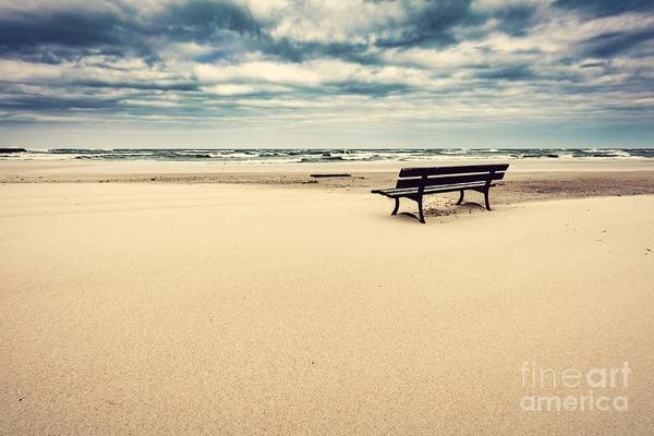 Wall Art - Photograph - Lonely Bench On The Beach With View On The Sea by Michal Bednarek
