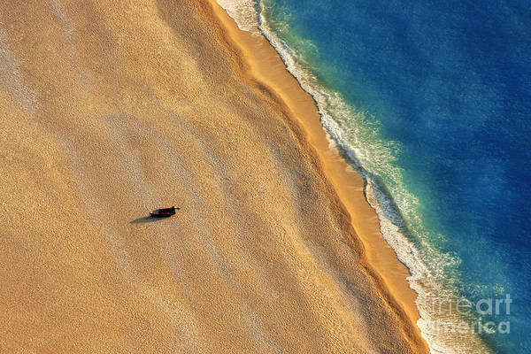 No-one Wall Art - Photograph - Lonely Boat On A Beach With Aerial View by Astrostar