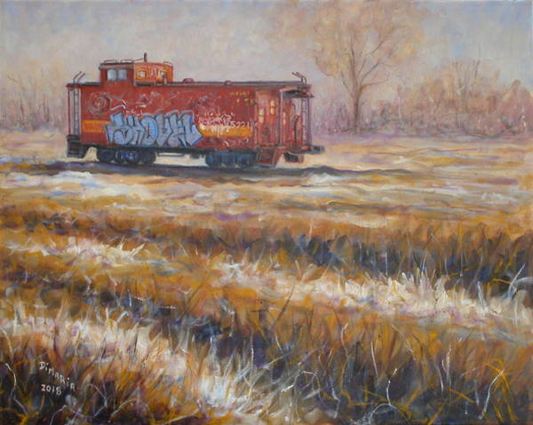 Red Caboose Painting - Lonely Caboose #2 by Donelli  DiMaria
