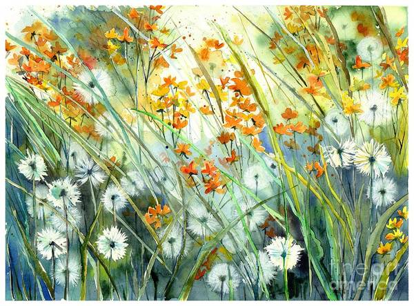 Field Of Flowers Wall Art - Painting - Lonely End Of The Summer by Suzann's Art