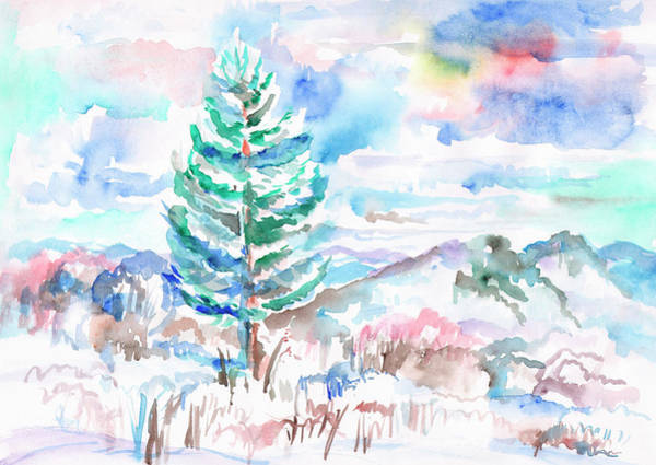Painting - Lonely Snow-covered Spruce In The Mountains by Irina Dobrotsvet
