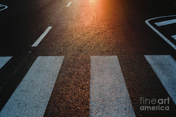 Photograph - Lonely Street With Pedestrian Crossing At Sunset, Texture With Space For Text. by Joaquin Corbalan