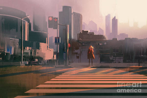 Wall Art - Digital Art - Lonely Woman Standing On Urban by Tithi Luadthong