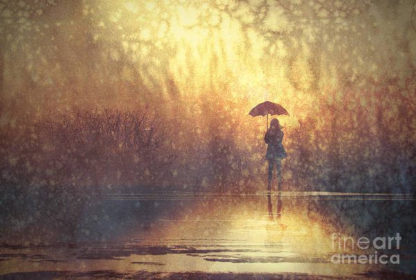 Wall Art - Digital Art - Lonely Woman With Umbrella In by Tithi Luadthong