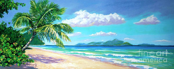 Tobago Wall Art - Painting - Long Bay Beach  9x23 by John Clark