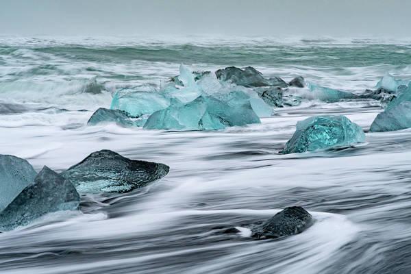 Long Exposure At The Jokulsarlon Ice Beach Art Print