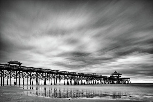 Oceanfront Photograph - Long Exposure Monochrome Of The Edwin S. Taylor Folly Beach Pier - Charleston South Carolina by Silvio Ligutti