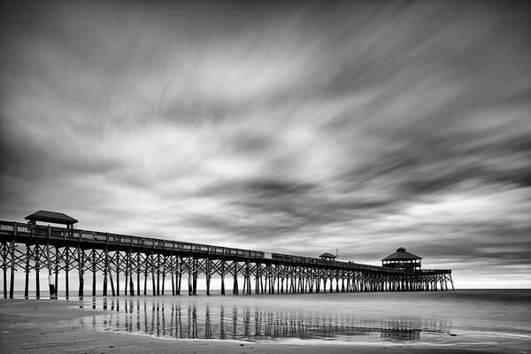 Photograph - Long Exposure Monochrome Of The Edwin S. Taylor Folly Beach Pier - Charleston South Carolina by Silvio Ligutti