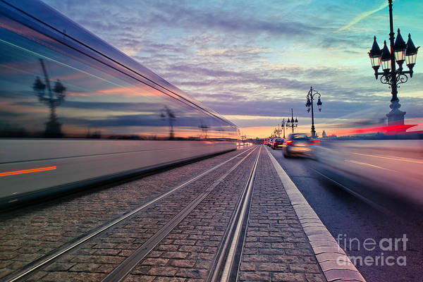 Tram Wall Art - Photograph - Long Exposure Of A Tram Passing On The by Saranya33