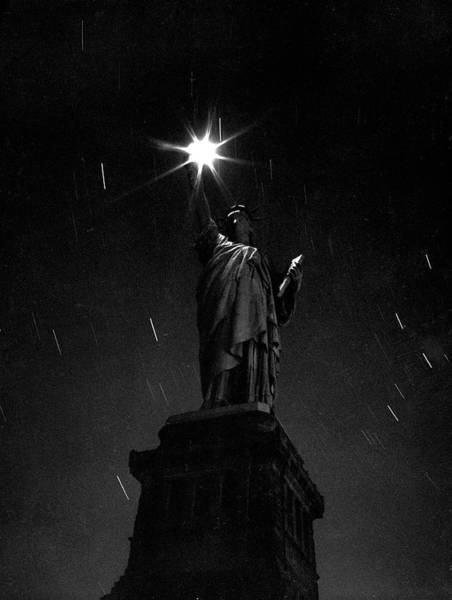 Photograph - Long Exposure Of The Statue Of Liberty by Andreas Feininger