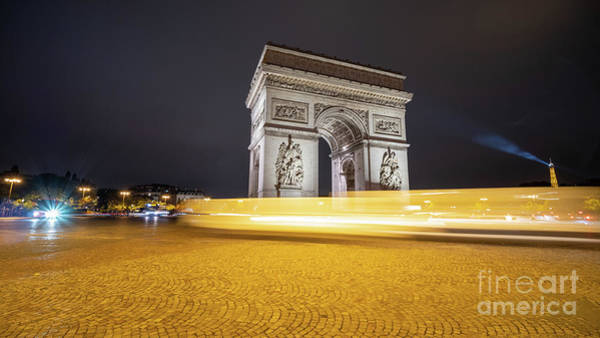 Photograph - Long Exposure Picture Of Paris Arch De Triomphe At Night   by PorqueNo Studios