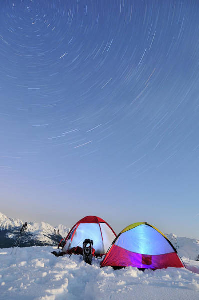 Tent Photograph - Long Exposure Star Trails And Tents On by Lijuan Guo Photography