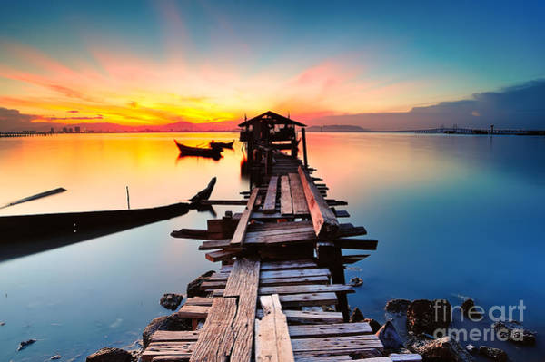 Wall Art - Photograph - Long Fishing Pier At Jelutong Penang by Azam Alwi