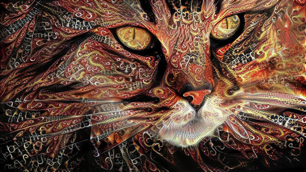 Digital Art - Long Haired Tabby Cat by Peggy Collins